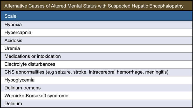 <div>Source: Prakash R, Mullen KD. Mechanisms, diagnosis and management of hepatic encephalopathy. Nat Rev Gastroenterol Hepatol. 2010;7:515-25.</div>