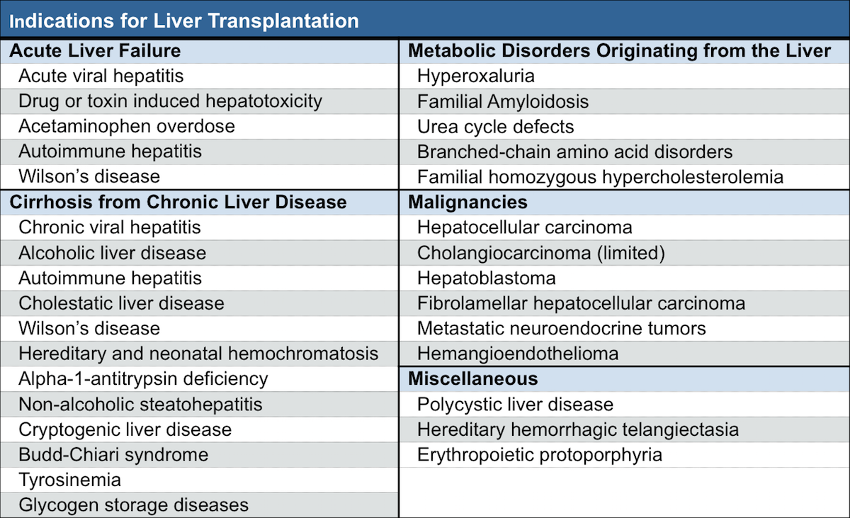This table shows the major indications for liver transplantation in adults. The most common reason for liver transplantation is cirrhosis from chronic liver disease.<div>Source: O'Leary JG, Lepe R, Davis GL. Indications for liver transplantation. Gastroenterology. 2008. 134;1764-76.</div>
