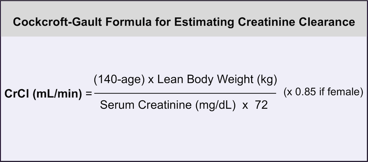Note: this is the original Cockcroft-Gault formula for estimating creatinine clearance. This formula should be used only in patients with stable renal function.  In addition, the formula performs better when adjusted for body surface area, particularly in patients with diminished renal function.<div>Source: Cockcroft DW, Gault MH. Prediction of creatinine clearance from serum creatinine. Nephron. 1976;16:31-41.</div>