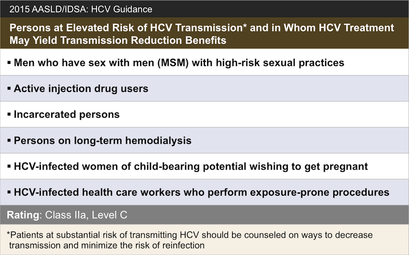 <div>Source: American Association for the Study of Liver Disease, the Infectious Diseases Society of America. Recommendations for testing, management, and treating hepatitis C. When and whom to initiate HCV therapy.</div>