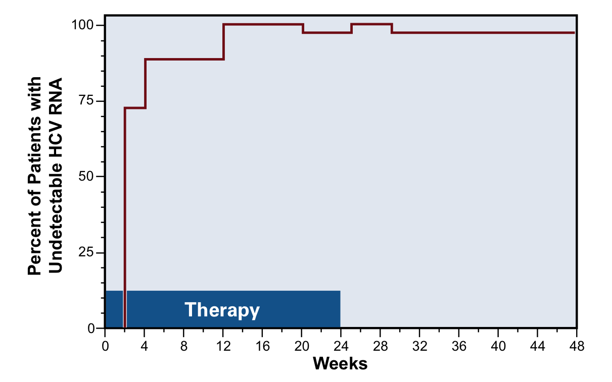 In this study, 44 patients with acute HCV infection received 5 million U interferon alpha-2b given subcutaneously daily for 4 weeks, followed by 3 times per week for 20 weeks. The graph shows the cumulative incidence of undetectable (lower limit 600 copies/ml) serum HCV levels during treatment and in follow-up. Hepatitis C virus levels were measured by reverse transcriptase polymerase chain reaction (RT-PCR).The mean baseline HCV RNA level was 420,000 copies/ml. Sixty-one percent of the patients had genotype 1A. The mean time from infection to the start of therapy was 89 days.<div>Source: Jaeckel E, Cornberg M, Wedemeyer H, et al. Treatment of acute hepatitis C with interferon alfa-2b. N Engl J Med. 2001;345:1452-7. Reproduced with permission from the Massachusetts Medical Society. Copyright © 2001 Massachusetts Medical Society. All rights reserved.</div>