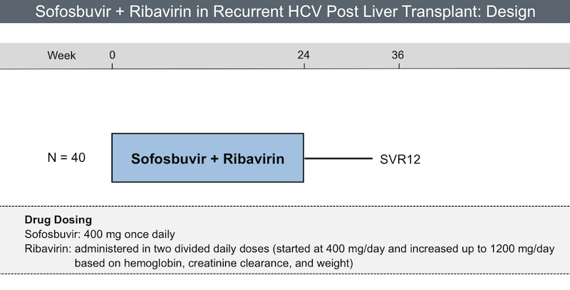 Patients received a 24-week course of sofosbuvir plus weight-based ribavirin (started at 400 mg per day and increased up to 1200 mg per day as tolerated).<div>Source: Charlton M, Gane E, Manns MP, et al. Sofosbuvir and ribavirin for treatment of compensated recurrent hepatitis C virus infection after liver transplantation. Gastroenterology. 2015;148:108-17.</div>