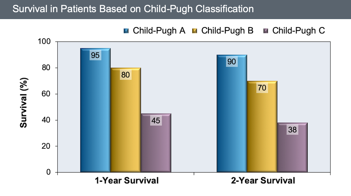This graphic shows a clear relationship of baseline Child-Turcotte-Pugh class (A, B, or C) and survival at 1 or 2 years. Without liver transplantation, patients with class C have a 1-year survival less than 50%.<div>Source: D'Amico G, Garcia-Tsao G, Pagliaro L. Natural history and prognostic indicators of survival in cirrhosis: a systematic review of 118 studies. J Hepatol. 2006;44:217-31.</div>