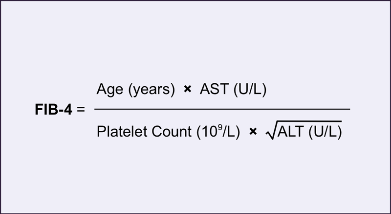 The Fib4 represents an easy-to-use test for predicting severe hepatic fibrosis or cirrhosis. 